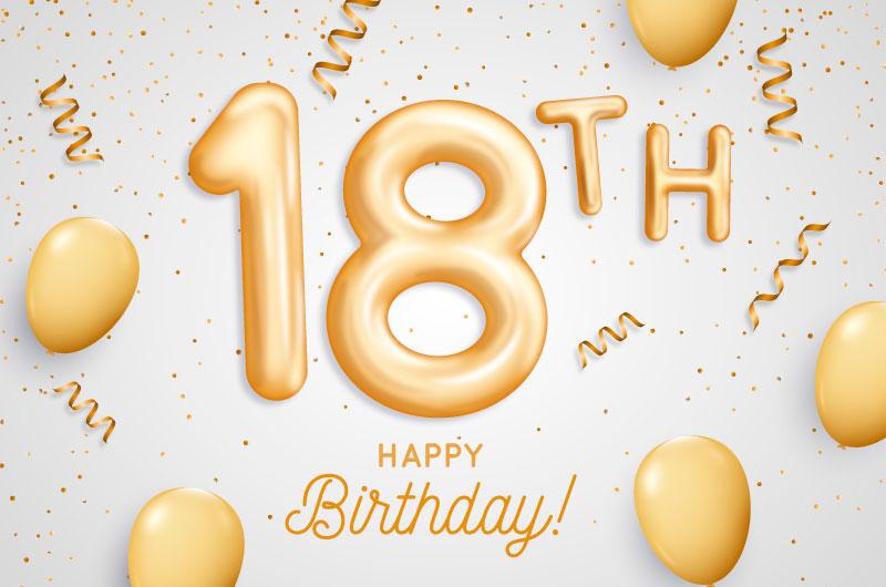 金色气球18岁生日快乐背景矢量素材(AI/EPS)