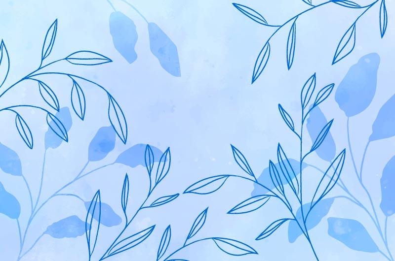 手绘叶子蓝色水彩背景矢量素材(AI/EPS)