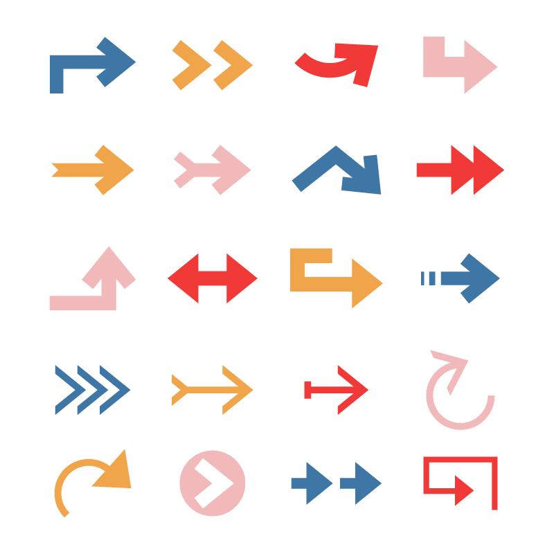 20个扁平风格的箭头矢量素材(AI/EPS)