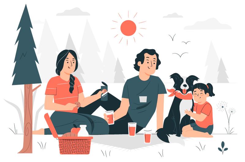 一家三口在户外野餐插画矢量素材(AI/EPS)