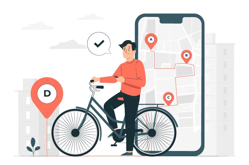 用手机查看骑行导航的男子矢量素材(AI/EPS)