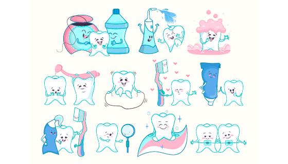 卡通风格的牙齿牙刷牙膏矢量素材(EPS)