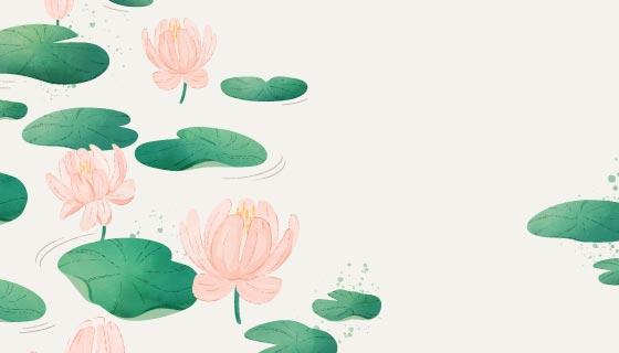 简单的水彩花卉背景矢量素材(AI/EPS)