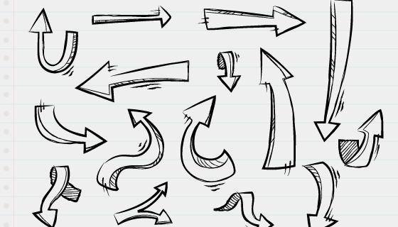 手绘箭头集合矢量素材(AI/EPS)