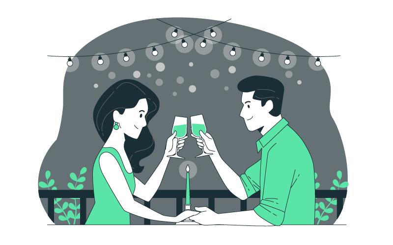 正在进行烛光晚餐的恋人矢量素材(AI/EPS)