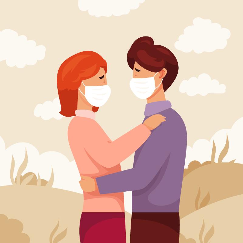 带着口罩相拥的恋人矢量素材(AI/EPS)
