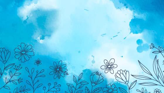 带有手绘花朵的蓝色水彩背景矢量素材(AI/EPS)
