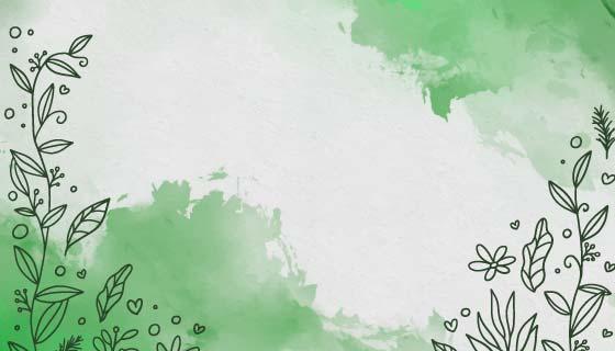 带有手绘花朵的绿色水彩背景矢量素材(AI/EPS)