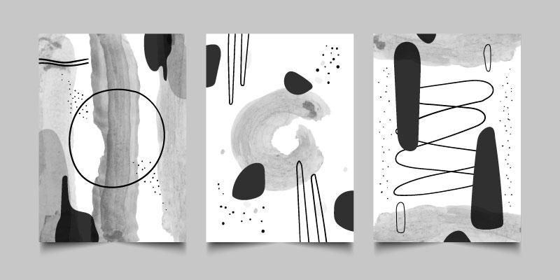 三张灰色的抽象设计封面矢量素材(AI/EPS)