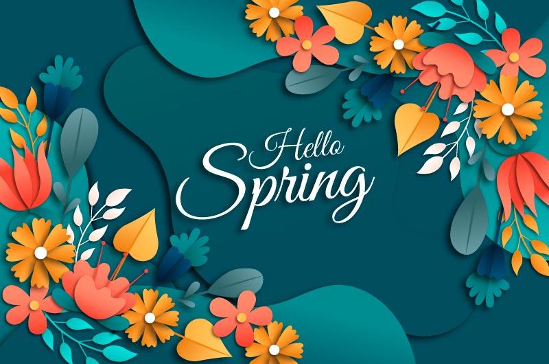 多彩花卉设计春天背景矢量素材(AI/EPS)