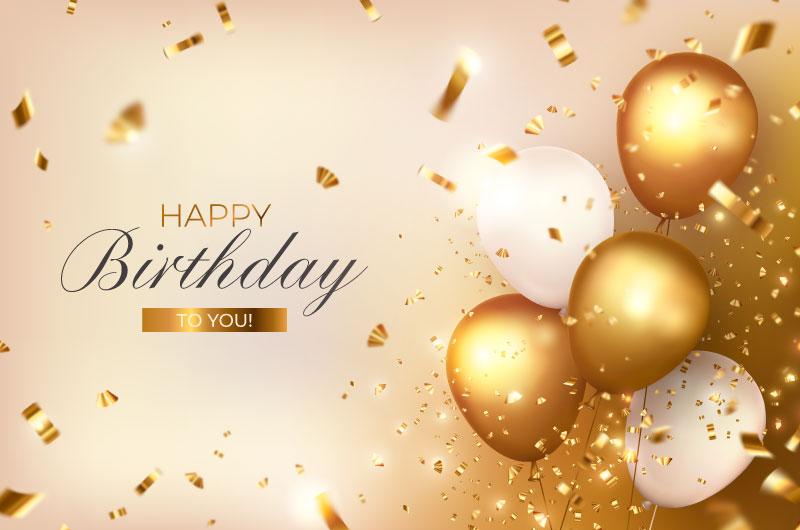 金色气球设计生日快乐背景矢量素材(EPS)