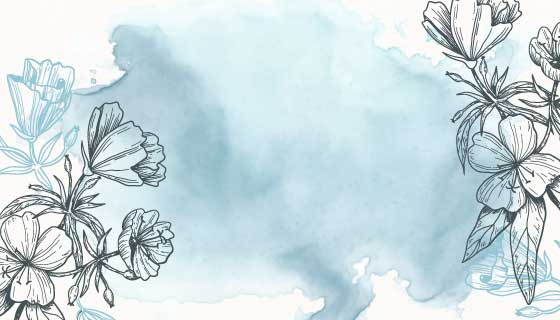 带有手绘花卉的浅蓝色水彩背景矢量素材(AI/EPS)
