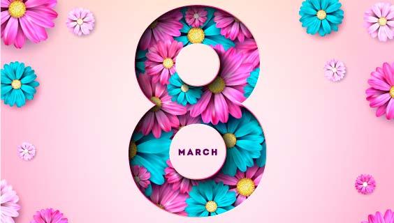 五彩缤纷的花朵设计女神节矢量素材(EPS)