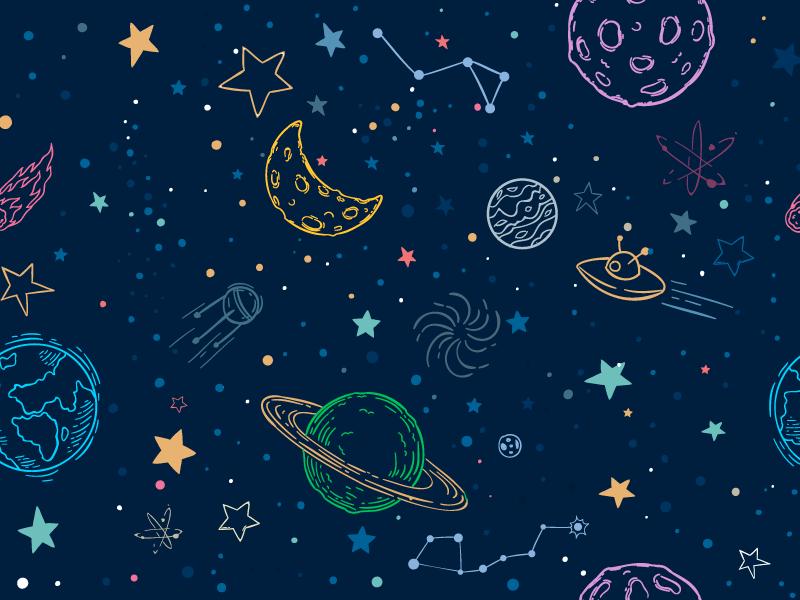 手绘多彩太空图案矢量素材(EPS)