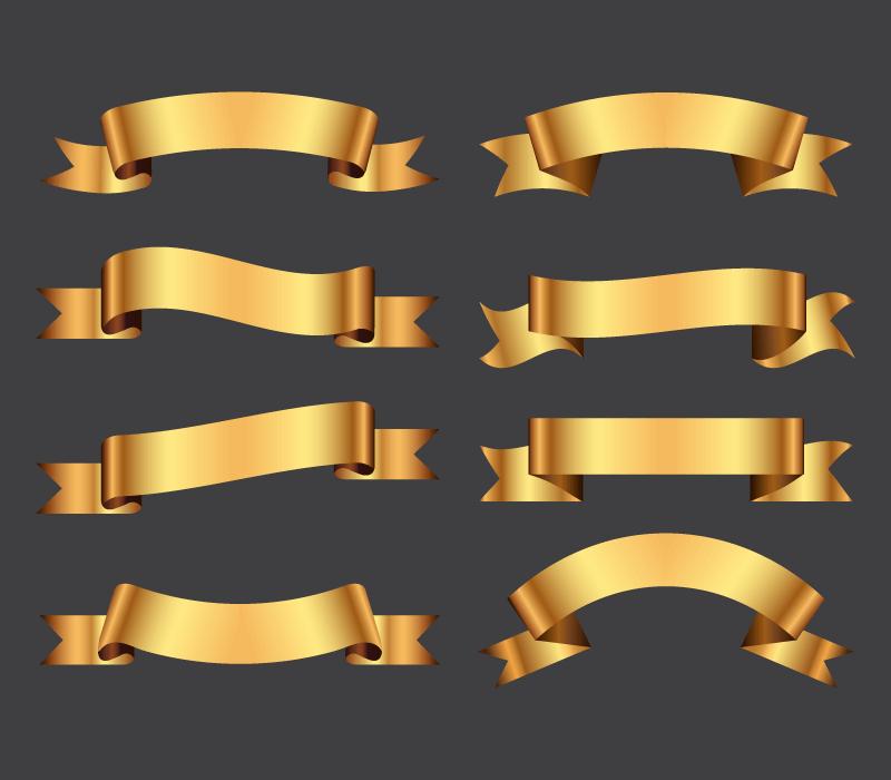 八个不同形状的金色丝带矢量素材(EPS)