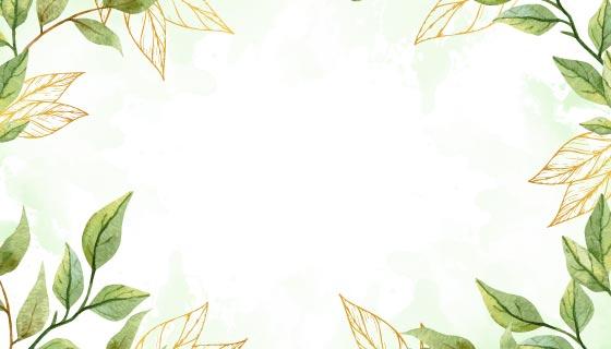 水彩风格的树叶背景矢量素材(AI/EPS)