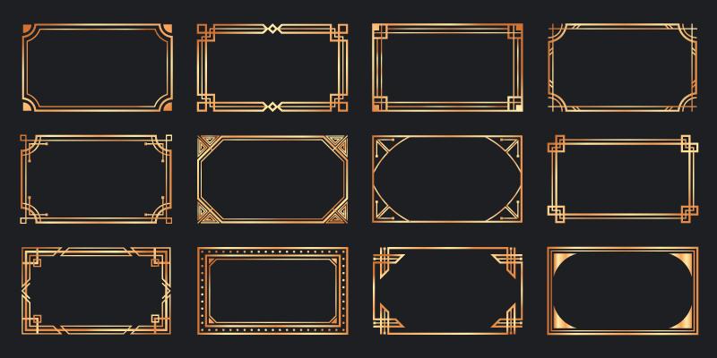金色的装饰艺术框架矢量素材(EPS)