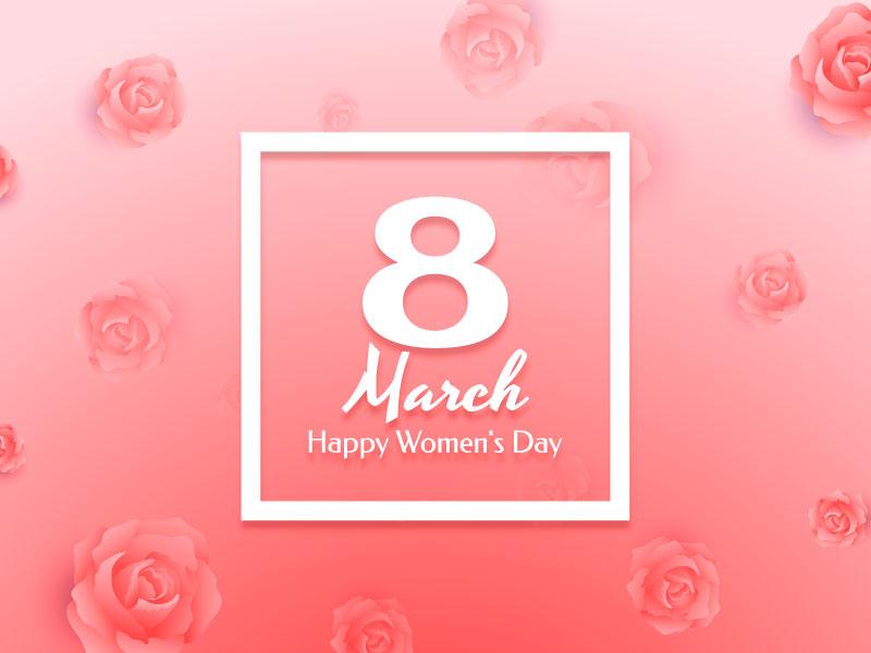 粉色玫瑰设计女神节快乐背景矢量素材(EPS)