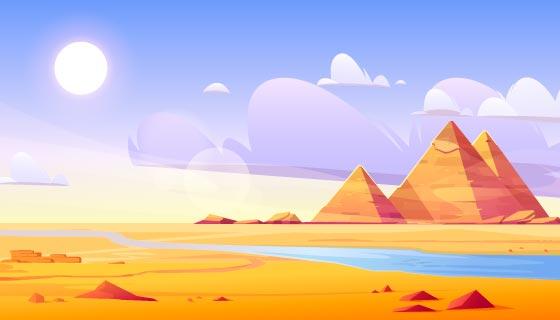 沙漠上的埃及金字塔矢量素材(EPS)