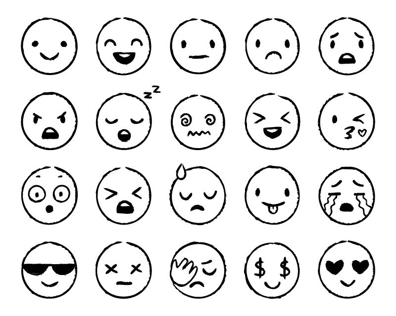手绘黑白风格表情矢量素材(EPS)