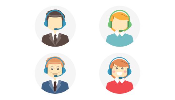四个呼叫中心接线员/客服头像矢量素材(EPS)