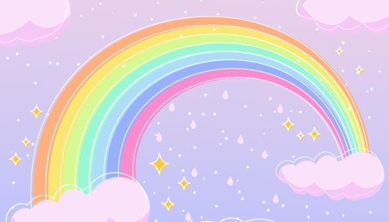 手绘可爱的彩虹矢量素材(AI/EPS)