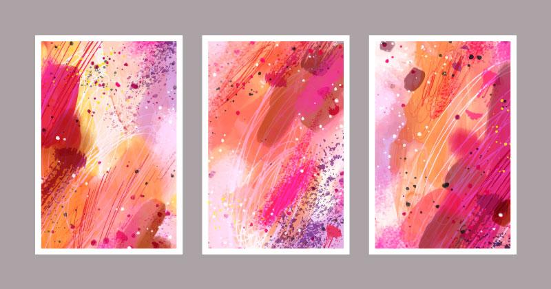 三张抽象色调暖色封面矢量素材(AI/EPS)