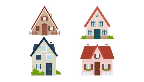四个独立的房子外观矢量素材(AI/EPS)