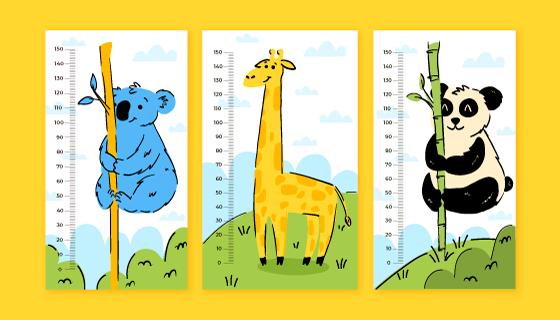 宝宝儿童量身高贴纸矢量素材(AI/EPS)