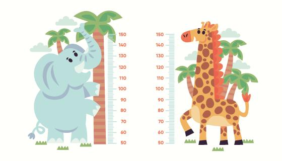 可爱动物设计量身高贴纸矢量素材(AI/EPS/PNG)