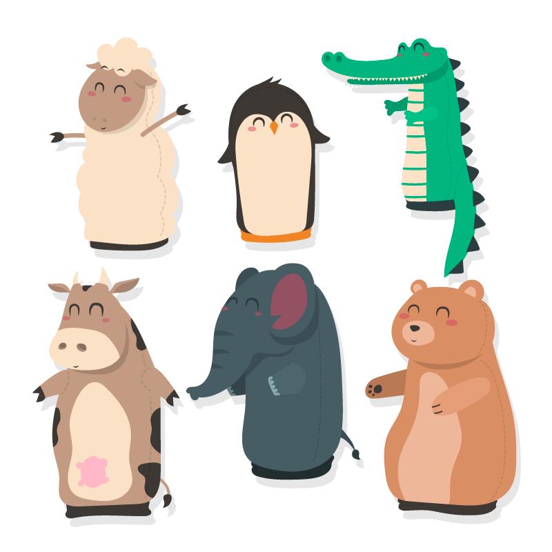 扁平风格可爱的动物矢量素材(AI/EPS/免扣PNG)