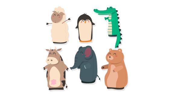 扁平风格可爱的动物矢量素材(AI/EPS/PNG)