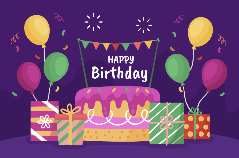 生日蛋糕设计生日快乐背景矢量素材(AI/EPS)