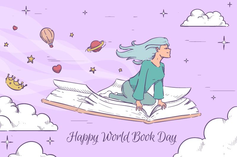 坐在书上的女子世界读书日矢量素材(AI/EPS)