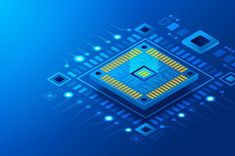 蓝色的芯片背景矢量素材(AI/EPS)