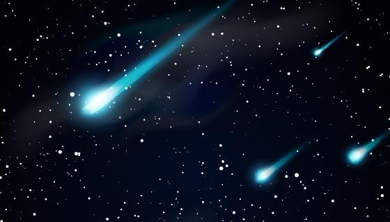 逼真的流星划过夜空背景矢量素材(EPS)