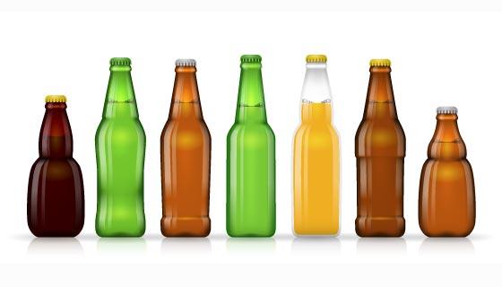 各种各样的啤酒瓶矢量素材(EPS)