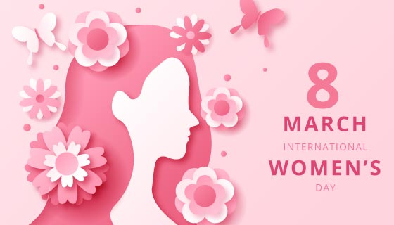 粉色花朵和女子设计女神节/妇女节矢量素材(AI/EPS)