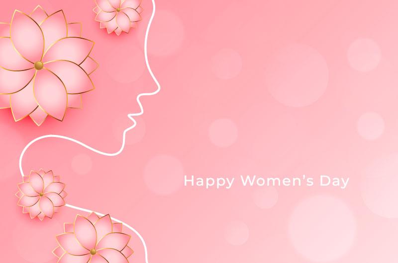 粉色花朵和女子轮廓设计女神节/妇女节矢量素材(EPS)