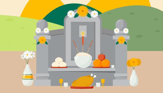 春天清明节扫墓祭祀矢量素材(AI/EPS)
