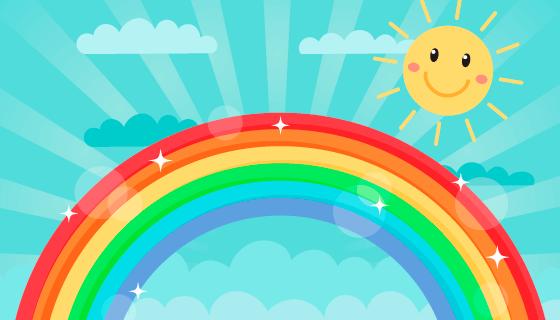 可爱的彩虹和太阳矢量素材(AI/EPS)