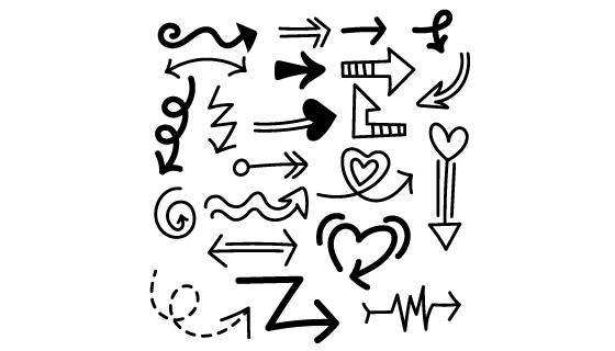 手绘黑色箭头集合矢量素材(AI/EPS/PNG)