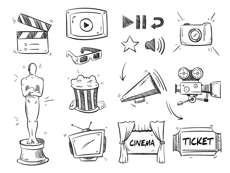 手绘风格电影类图标矢量素材(EPS/免扣PNG)