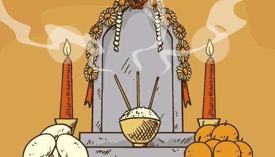 手绘风格清明节扫墓祭祀矢量素材(AI/EPS)