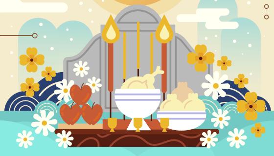 清明节扫墓祭祀矢量素材(AI/EPS)