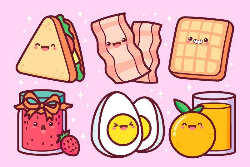 可爱卡通风格的早餐矢量素材(AI/EPS/免扣PNG)