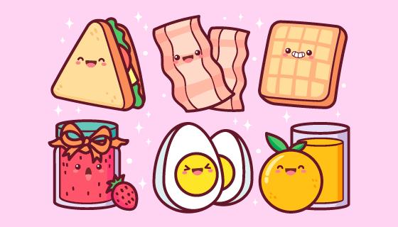 可爱卡通风格的早餐矢量素材(AI/EPS/PNG)