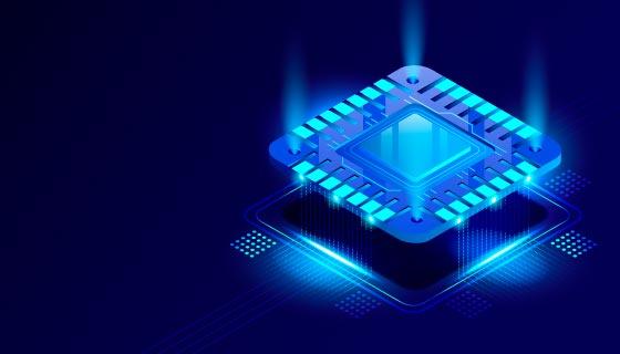逼真的蓝色芯片背景矢量素材(AI/EPS)