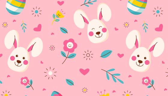 小白兔花朵彩蛋图案复活节背景矢量素材(AI/EPS)
