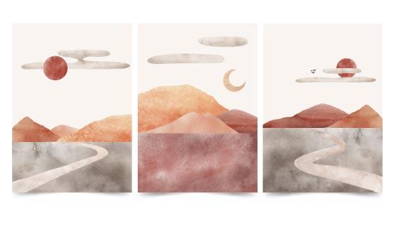 三张水彩画风景封面矢量素材(AI/EPS)